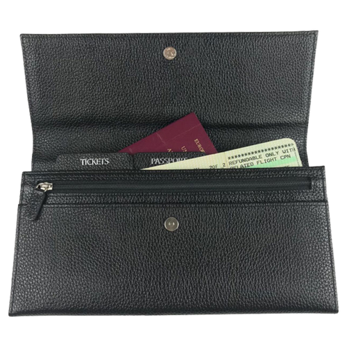 Leather Travel Wallet - Black
